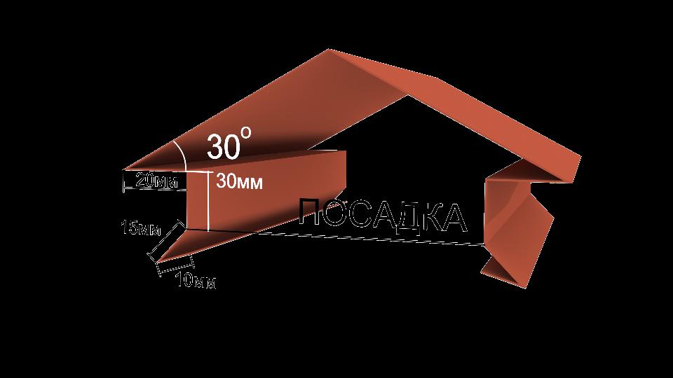 Металлический парапет на забор Вид-4, 3000x170 мм Полиэстер