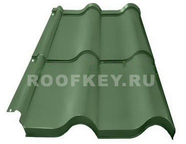Металлочерепица ОЗЛК Испанская Дюна 0,5 мм GreenCoat Pural BT matt BT, RR 11 (т-зелёный)