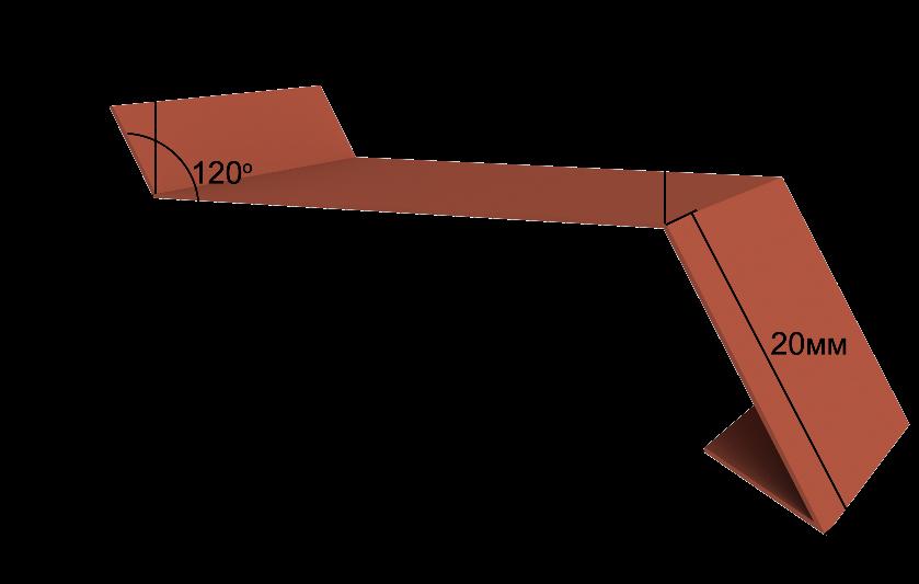 Металлический отлив для фундамента и цоколя Вид-1, 2000x50 мм Полиэстер