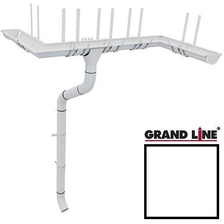 Металлический водосток Grand Line 125/90 мм, Granit RAL 9003 (Белый)