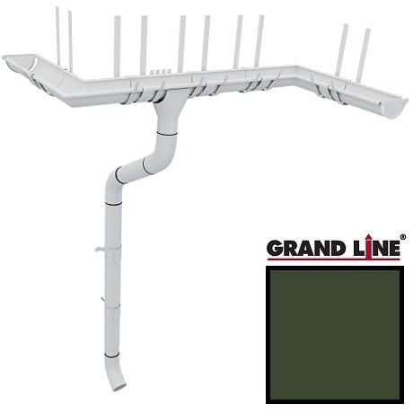 Металлический водосток Grand Line 125/90 мм, Granit RR 11 (Темно-зеленый)