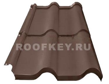 Металлочерепица ОЗЛК Испанская Дюна 0,5 мм Полиэстер (Россия), RAL 8017 (коричневый)
