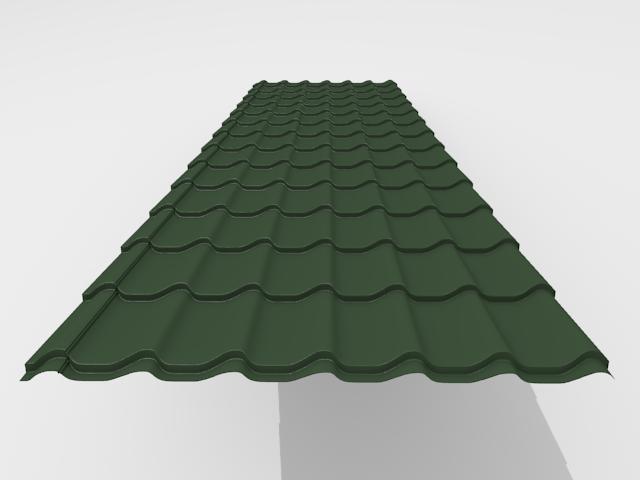 Металлочерепица Interprofil 0,4 мм Полиэстер Эконом, RAL 6005 (зеленый)