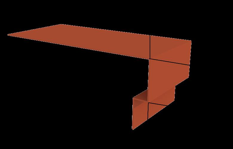 Металлический наружный откос на окно Вид-2, 1250х130 мм Полиэстер