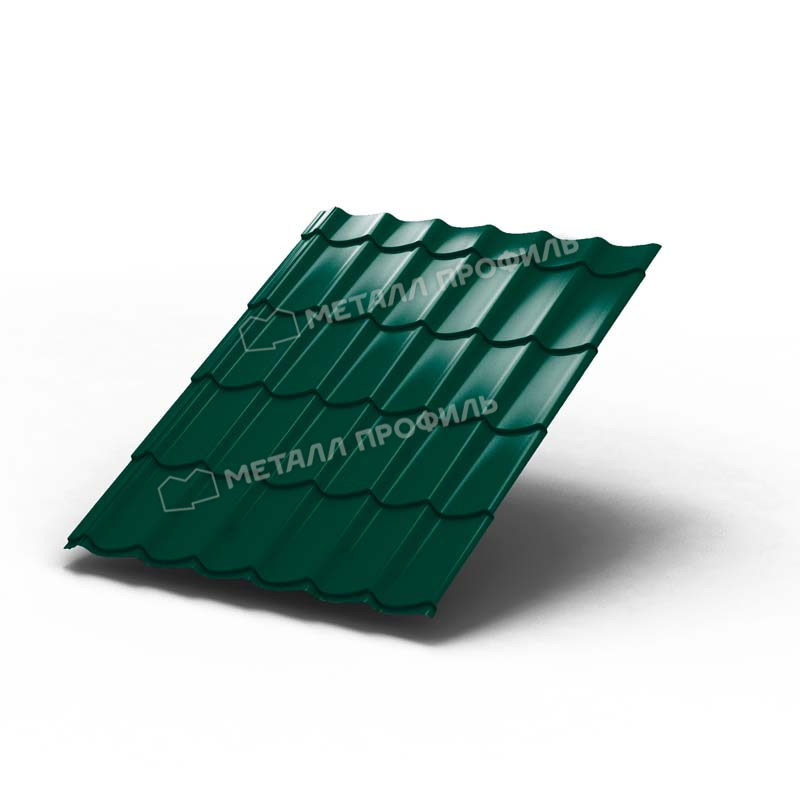 Металлочерепица МП Ламонтерра X 0,4 мм Полиэстер, RAL 6005 (зеленый)