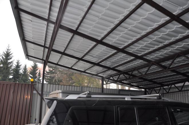 Односкатная крыша навеса для автомобиля